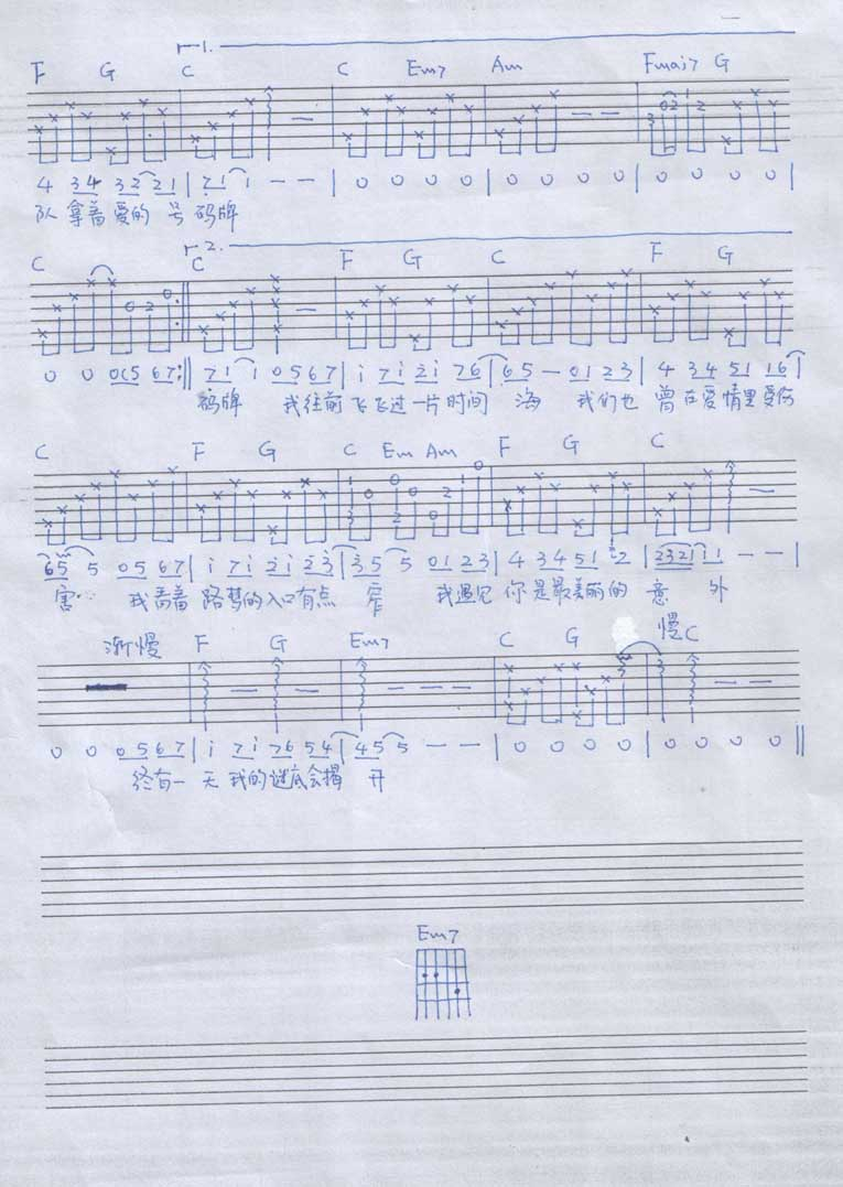 适合男生弹唱版吉他谱图片